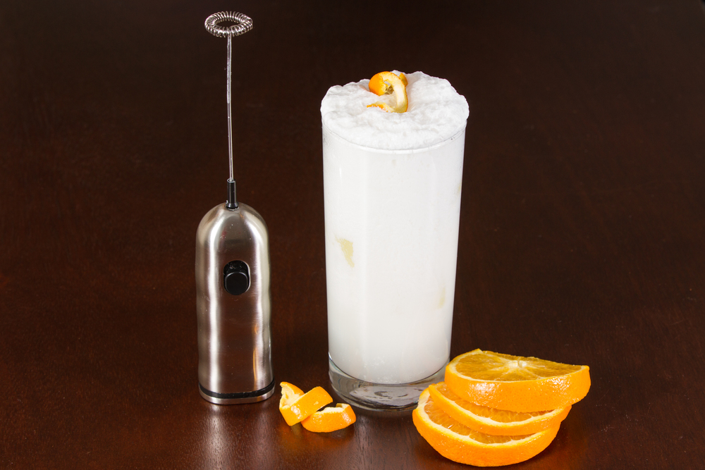 Ramos Gin Fizz made with Cafe' Luxe stainless steel made with Cafe' Luxe best milk frother and foam maker
