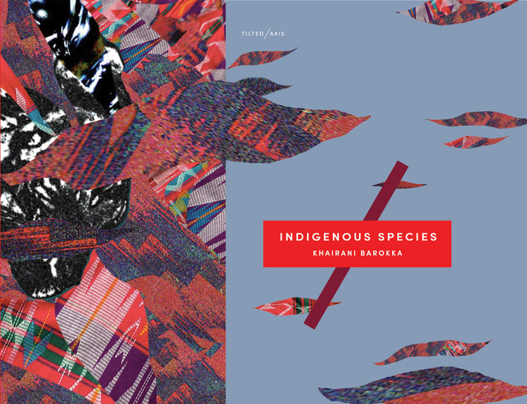 The cover of  Indigenous Species , Tilted Axis Press. Cover artwork by Khairani Barokka.