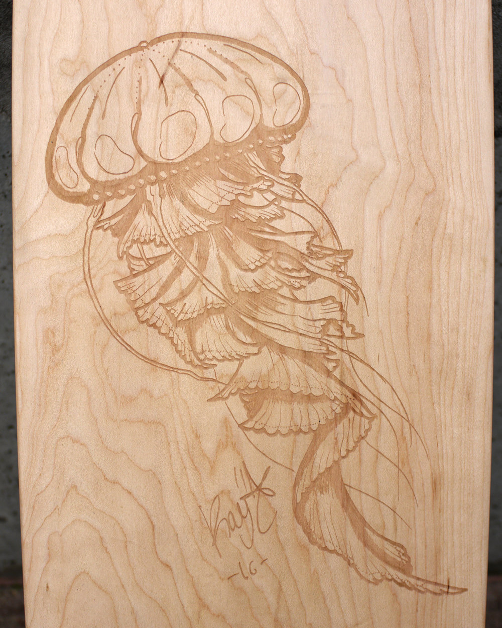 laser engraved skateboard