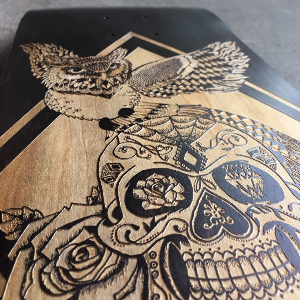 skateboard custom laser engraved