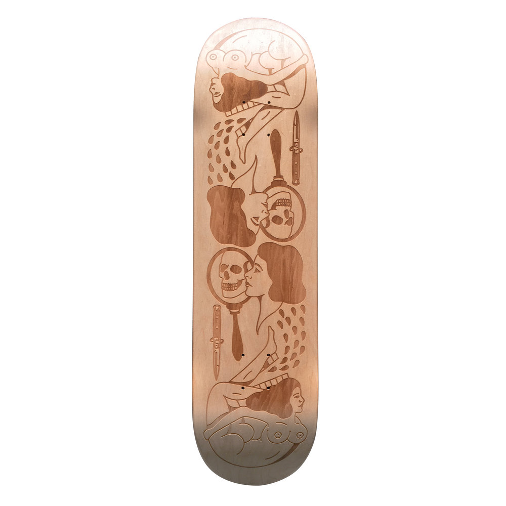 laser engraved skateboard from Jordan Dodge