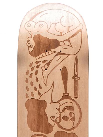 Laser engraved skateboard benjamin jeanjean
