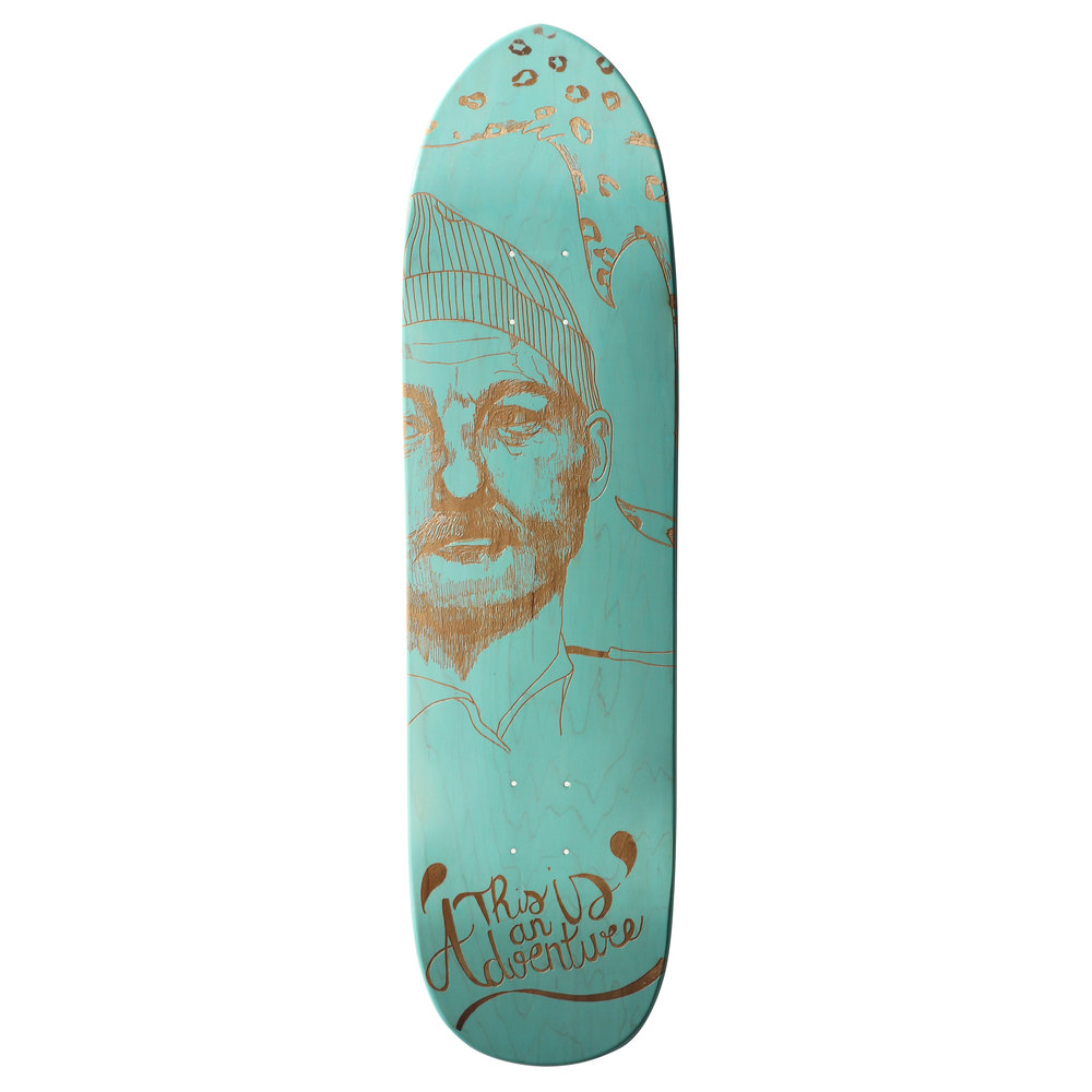 laser engraved skateboard claire baldairon with le shape