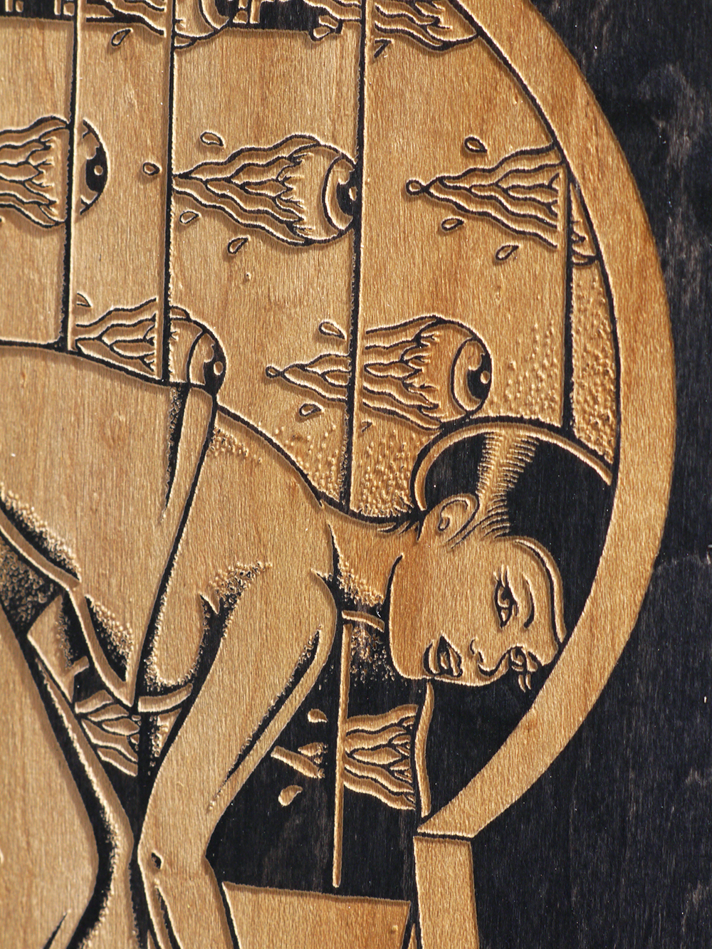 chopping jerks voyeur laser engraved skateboard