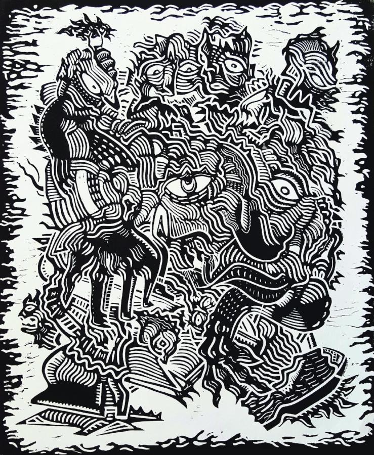 Tirage d'une linogravure ; Format 45x50