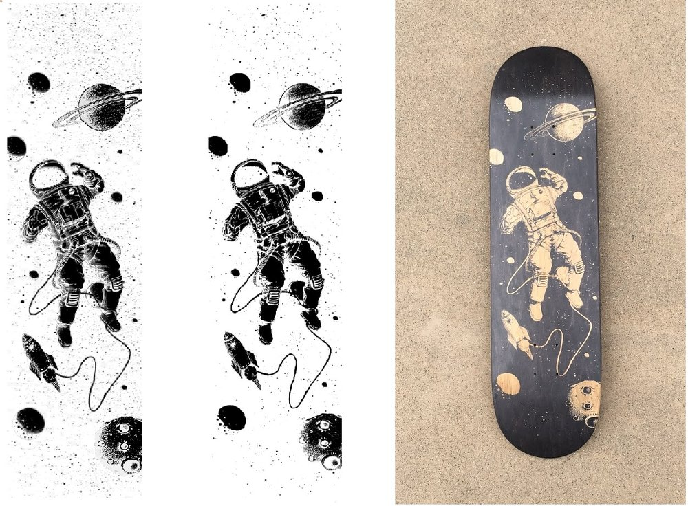 The original file, the file with only pure black and white dots, and the final result of the laser engraving