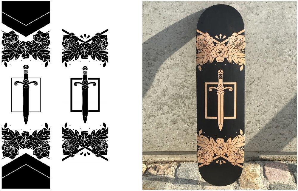 Le fichier original, le fichier modifié et le skateboard personnalisé par gravure laser