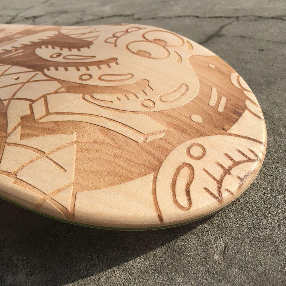 laser engraved skate deck
