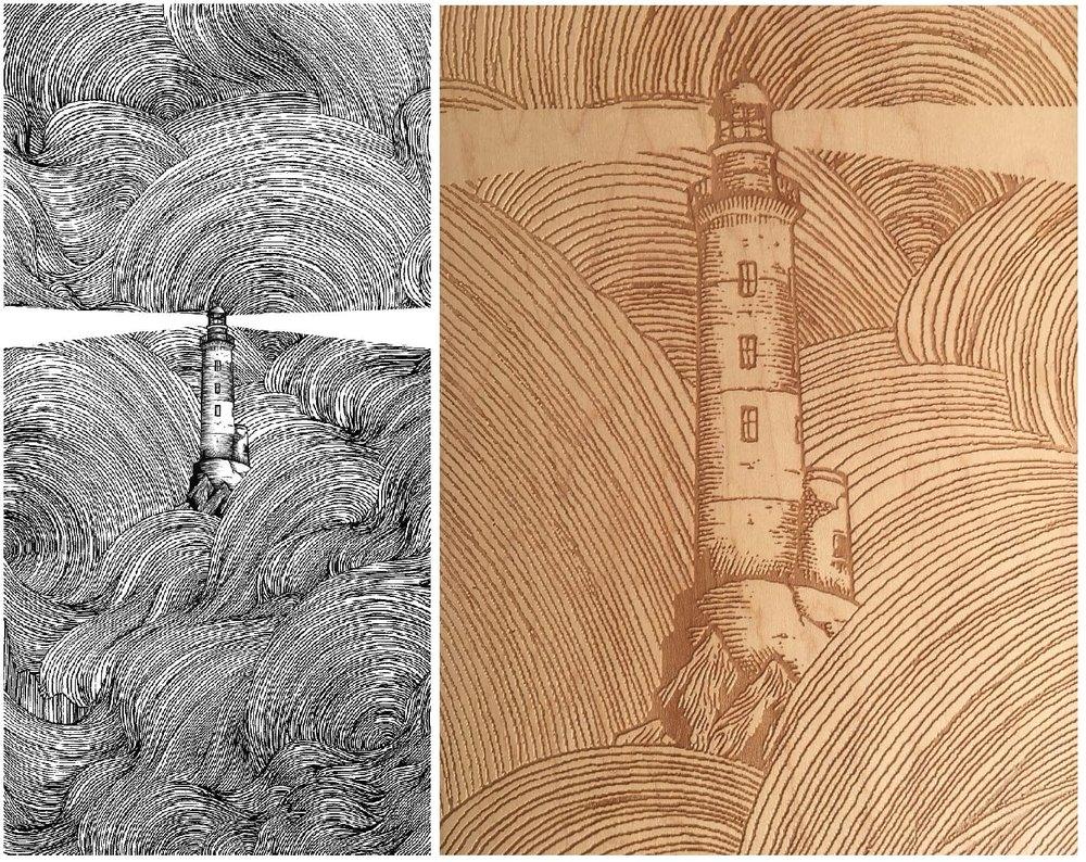 Dessin original en noir et blanc et un zoom sur la gravure laser