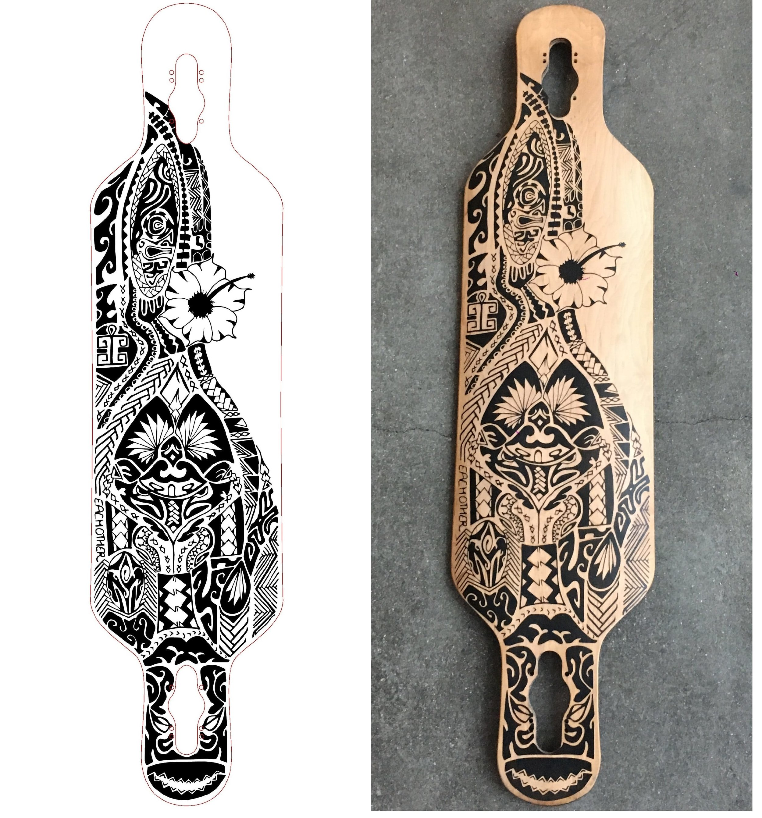 The vectorised drawing from Illustrator and the laser engraved longboard