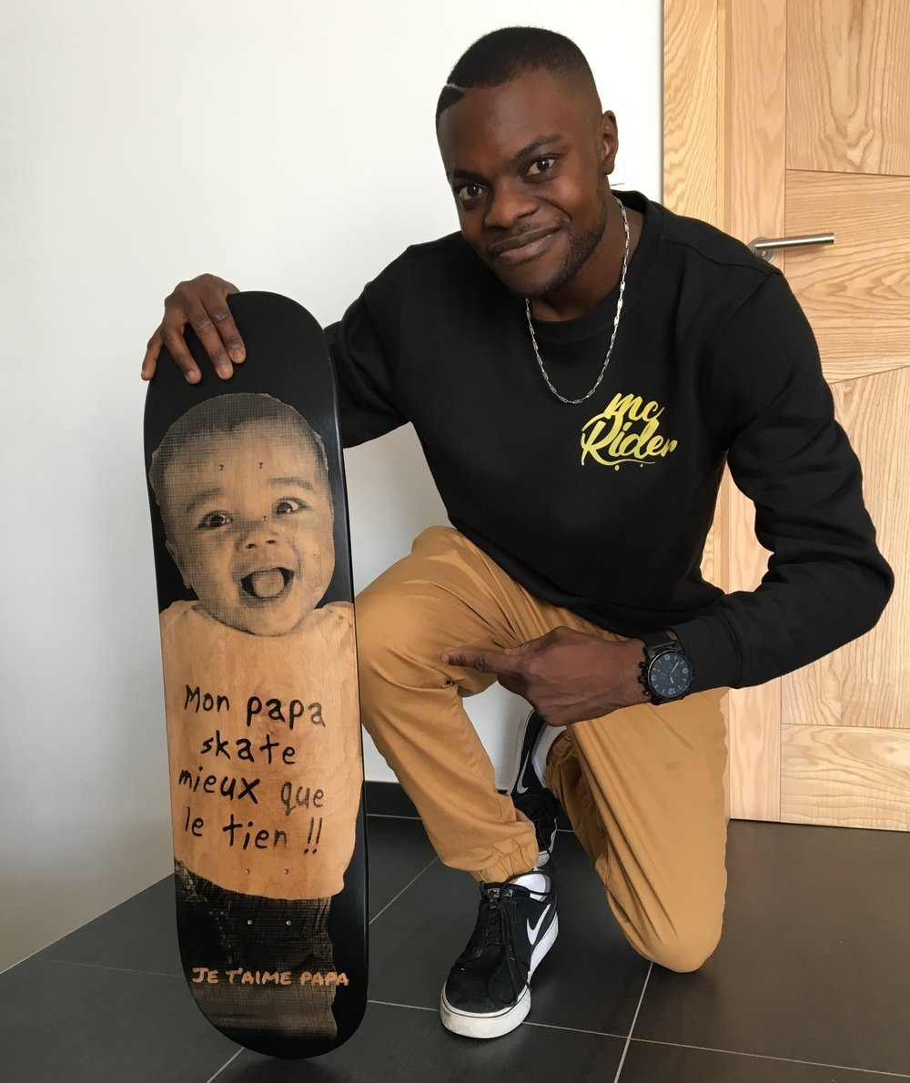 The dad and his custom skateboard