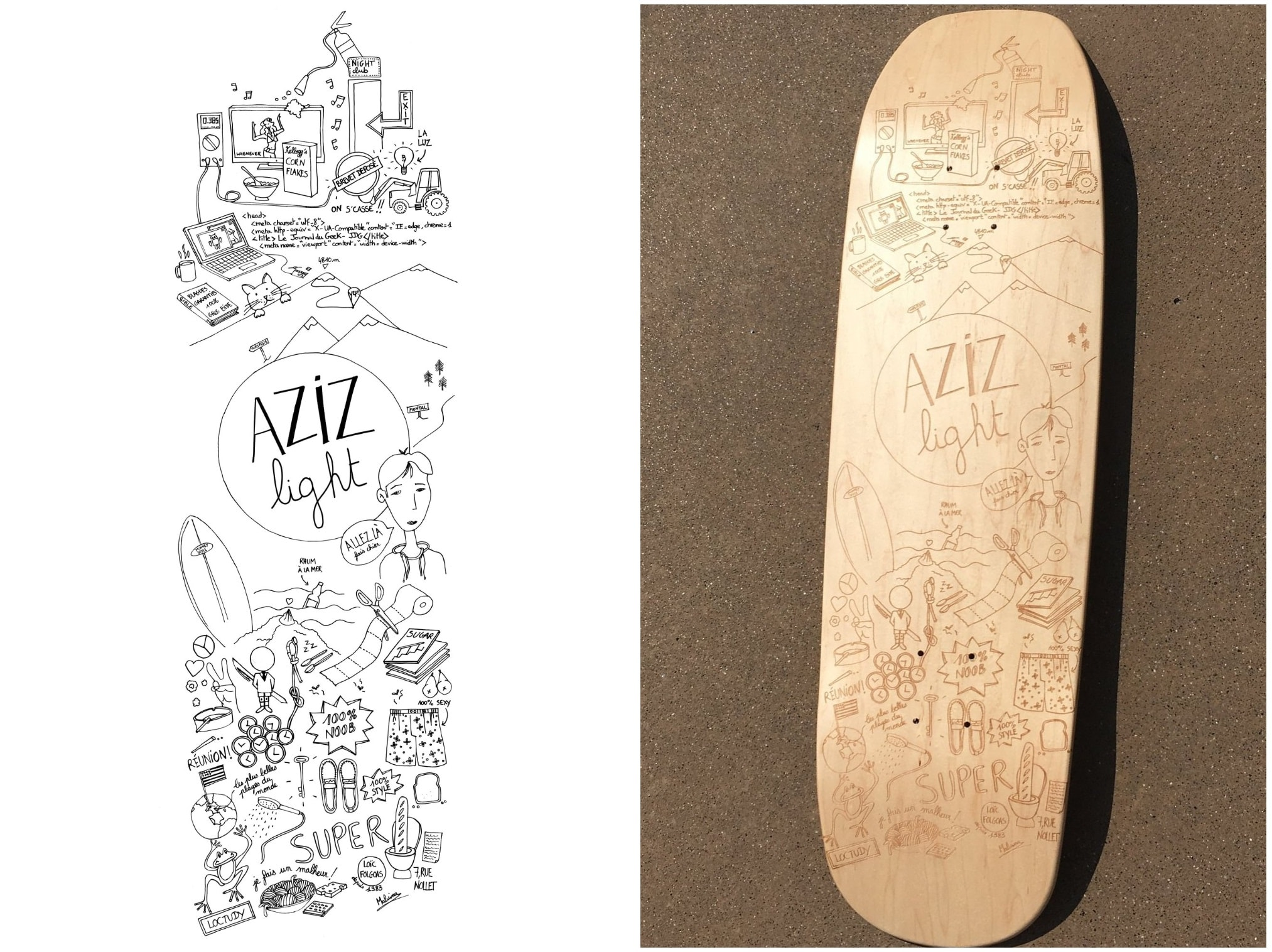 The original file from Illustrator and the result of the engraving on the deck