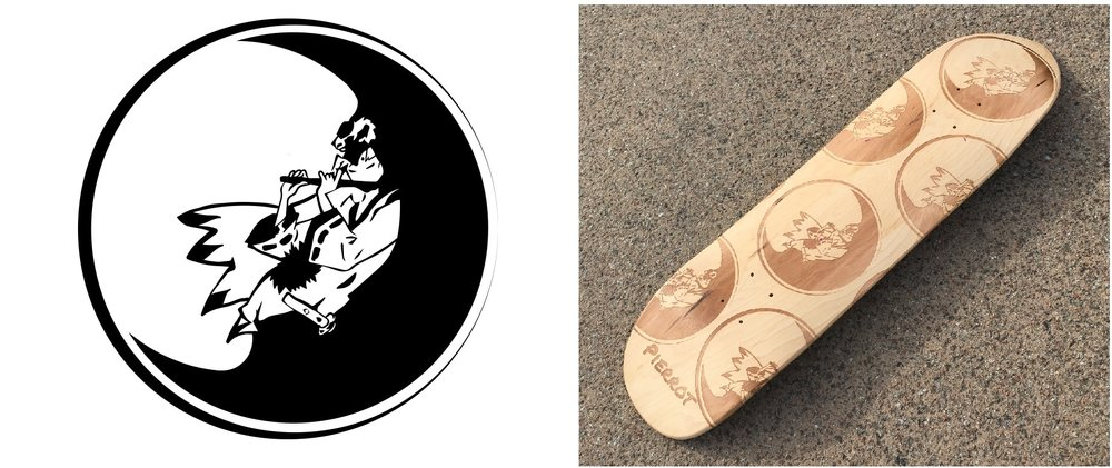 The original file of the customisation and the laser engraved custom cruiser