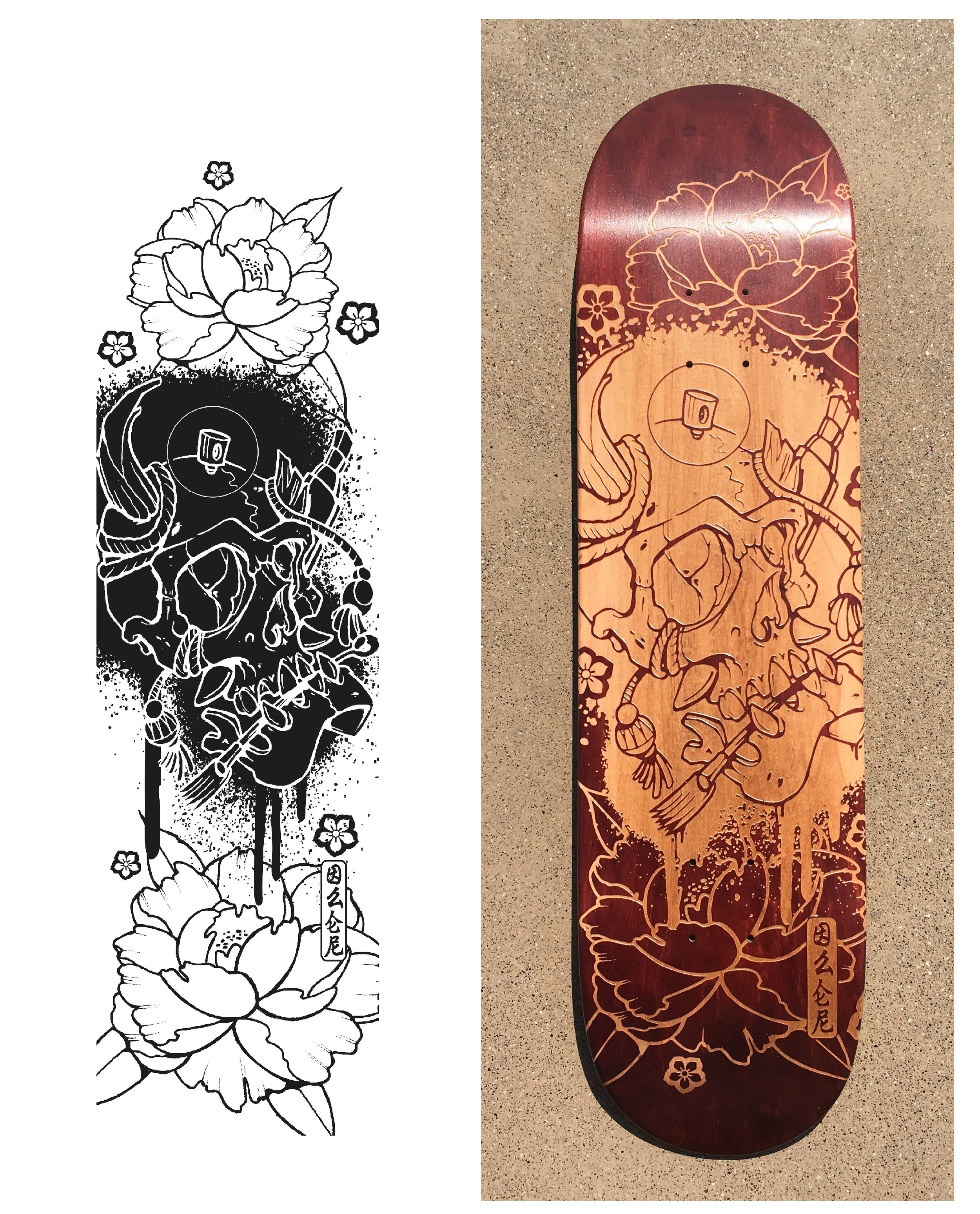 The original file from Illustrator and the result of the engraving on the skateboard deck