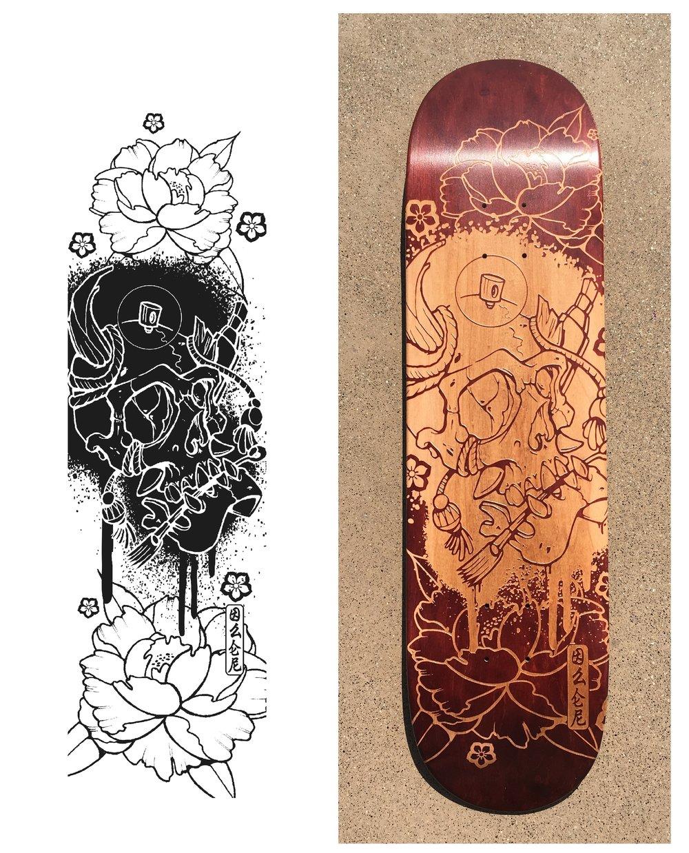 Le fichier de personnalisation tiré d'Illustrator et le skateboard personnalisé par gravure laser