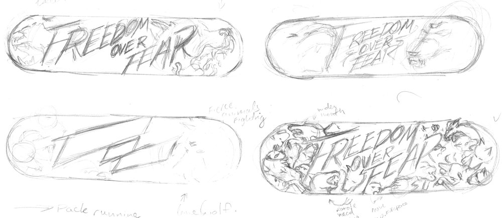 croquis skateboard custom