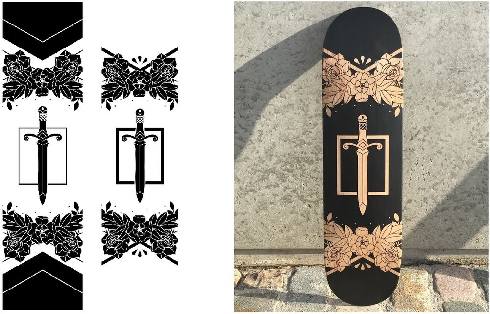 The original file, the reworked file and the result on a laser etched skateboard deck