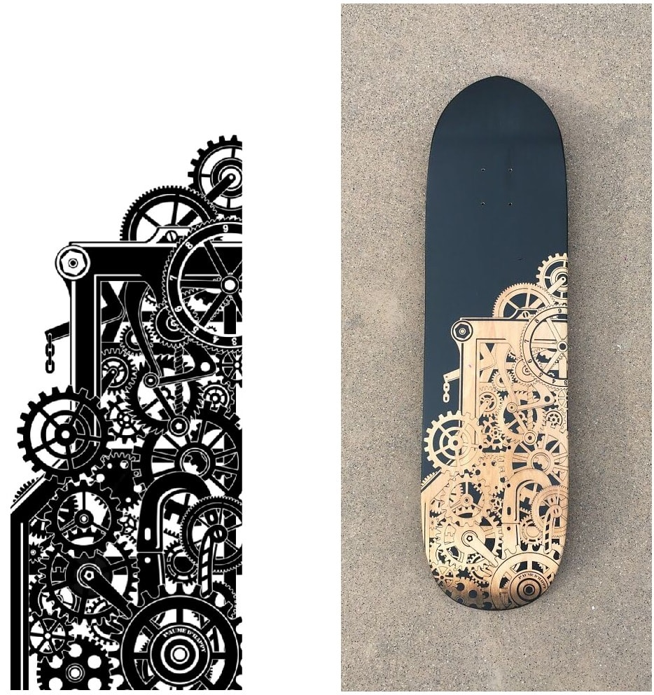 Her custom file and the result of the engraving on a cruiser deck