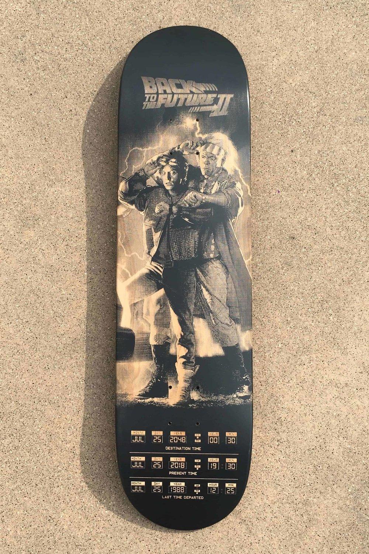 The laser engraved skateboard deck after having converted the file