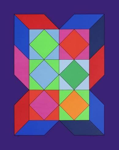 Ce tableau de Vasarely joue beaucoup avec les couleurs, ce n'est pas le type d'image recommandé…