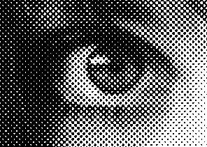 Zoom sur une image traitée pour que la gravure laser puisse recréer l'illusion de nuance de gris