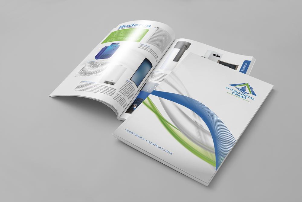 Projekt + wydruk katalogów A4. Papier kreda mat 300g + folia mat + lakier uv. Środek 130g kreda mat