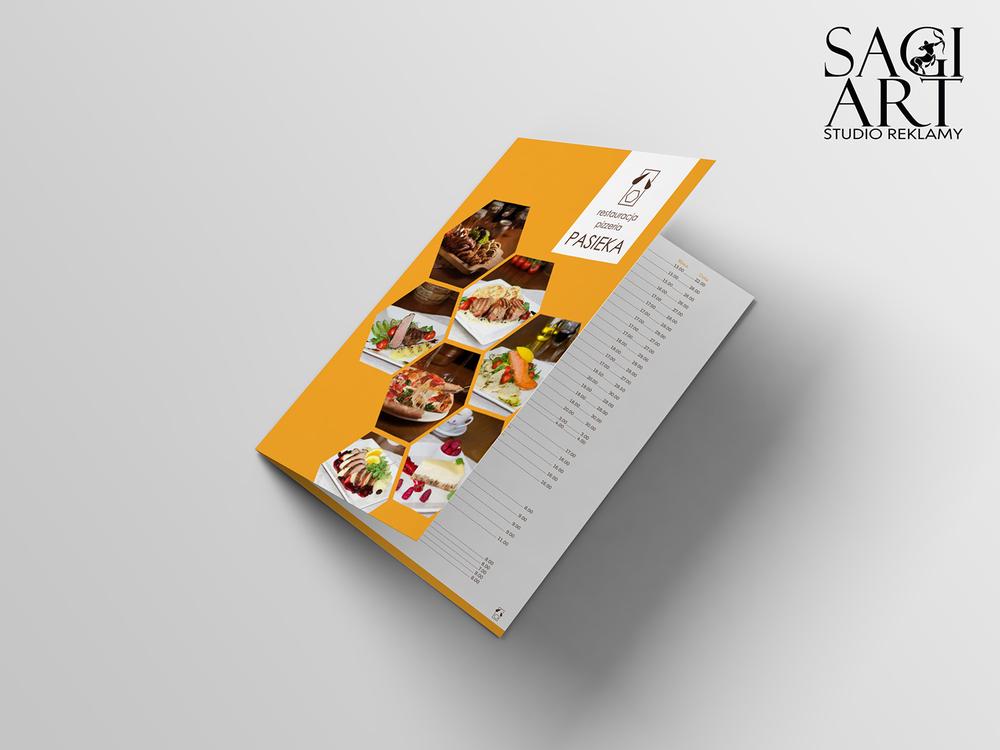 Przygotowanie graficzne karty menu, format A4, papier kreda mat 350 + folia mat 1+1