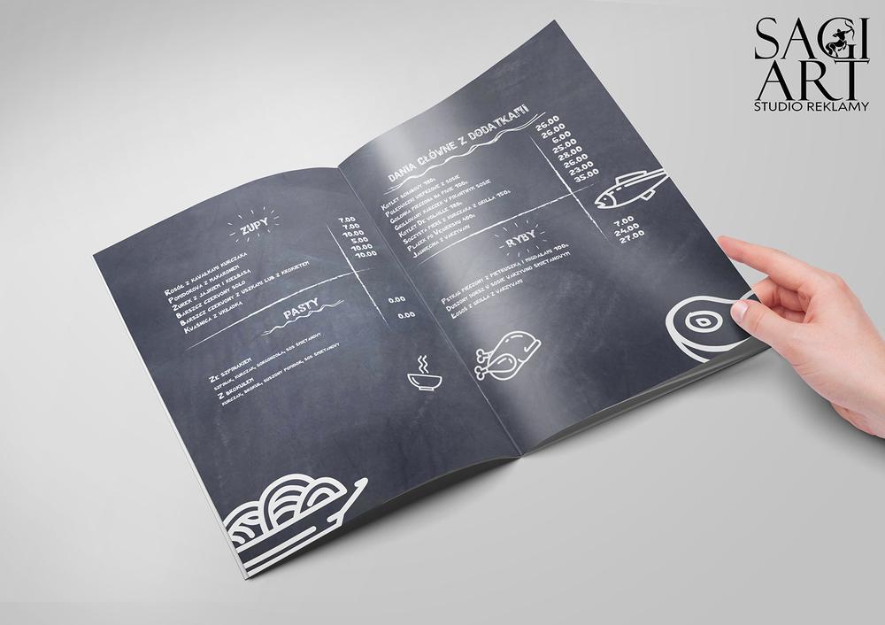 Przygotowanie graficzne + druk kart menu w formie zeszytowej. Papier kreda mat 200 + folia mat + lakier uv