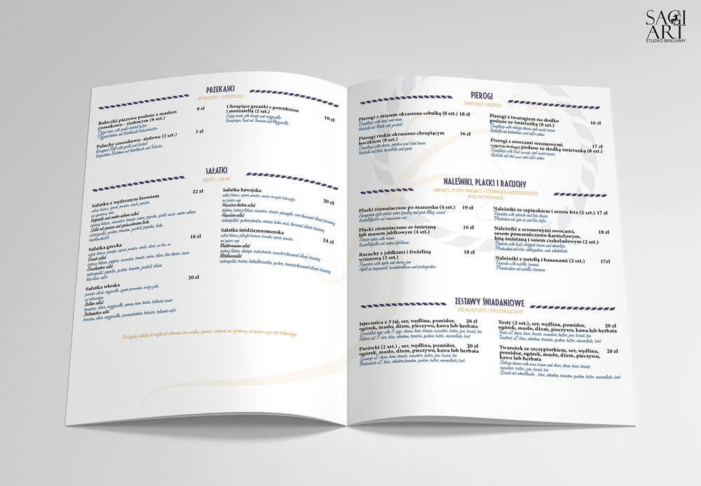 Przygotowanie graficzne + druk kart menu. Format 250x210mm, kreda mat 300g + folia mat