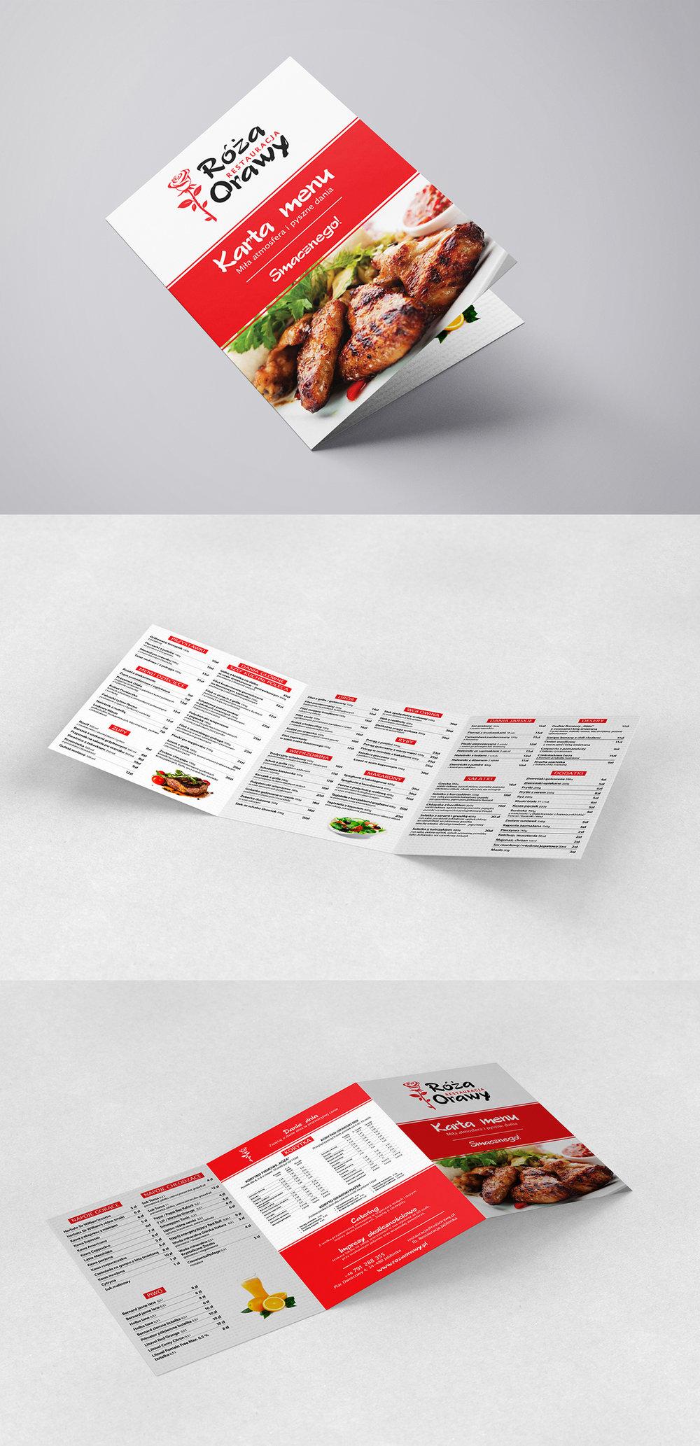 Przygotowanie graficzne i druk kart menu. 3XA4 składane do A4. Papier kreda mat 350g + folia soft touch