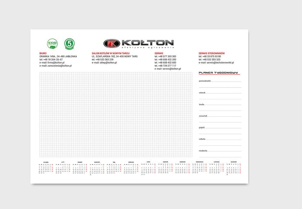 Przygotowanie graficzne i druk biuwara, format A2 papier offset, klejenie dolnej krawędzi, podkład kartonowy