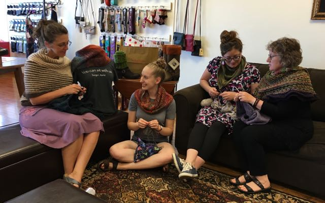 No really, they're all knitters. See those cool kicks? Jodi, Emily, Summer, and me.
