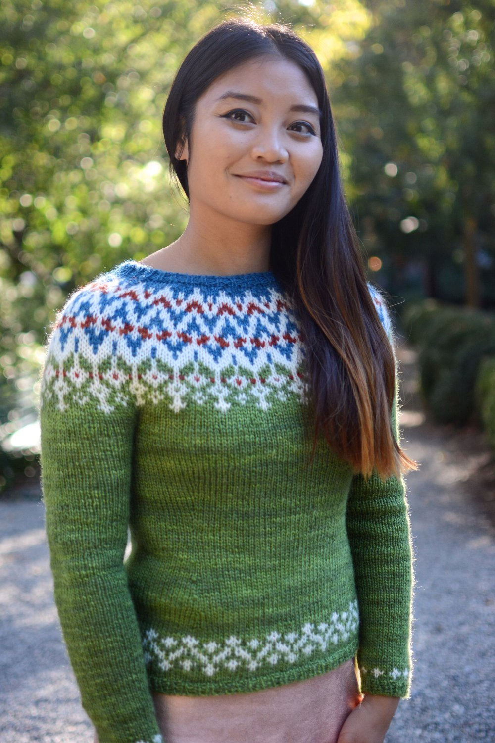 September House Sweater shown in Monhegan Moss, fitted.   Celebrate the coming of cool weather with our exclusive new sweater kit. Maine Yarn & Fiber Supply has teamed up with the incomparable knitwear designer, Kirsten Kapur (throughtheloops), to bring you the first in our series of breed specific, Maine raised and spun, curated yarn kits.  Our September House Kit, features the silky, lustrous and strong fleece from Coopworth sheep.Coopworth is a favorite in our shop, known for its soft hand, long wear and luminous shine. All of this yarn hails from French Hill Farm in Northern Maine. Perched high on a hill above the Kennebec River, this 80 acre farm has been home to Coopworth sheep for nearly 30 years. Sadly, this hand selected clip is the last from this soil, as the Shepherdess is retiring after many years working with her Coopworth, to bring forward the very best genetic attributes of this breed. We are proud to offer this one of a kind yarn to you in our sweater kit.  We have designed this yarn as a semi-woolen spun 2-ply DK, spun locally to our specifications.  The original and exclusive pattern is a yoked sweater that is knit in the round. Kirsten Kapur has designed a truly lovely sweater, playing with our colors and the energy of this yarn perfectly. The pattern allows you to choose between a fitted sweater with waist shaping, or a more boxy style with more positive ease. It is available in two different color options: Monhegan Moss, as shown above, or Point of Maine (see additional photos). Simply select your preference from the drop down menu when adding it to your cart.  As with all small batch agricultural crops, this yarn has limited availability, and we encourage you to pre-order to secure your sweater! We are offering a special discounted price on all pre-orders, available now through 11/1/17.  The yarn for your September House Sweater Kit will be dyed to order and shipped to you along with:  ~A printed copy of the pattern  ~An emailed digital file co