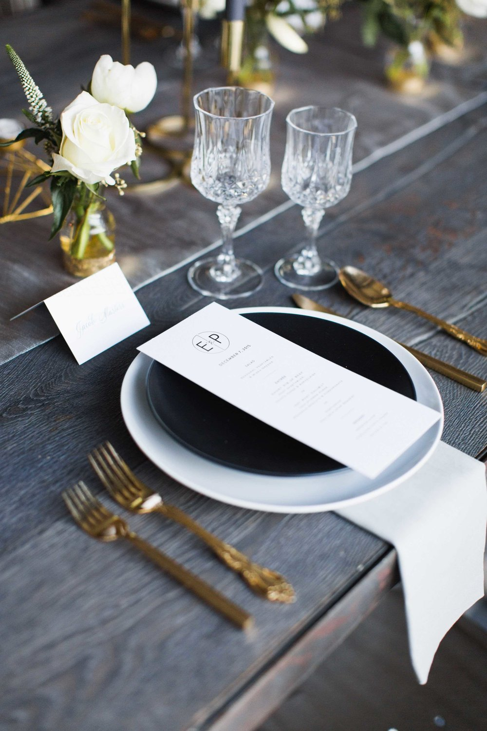Wedding Place Setting on Farm Table