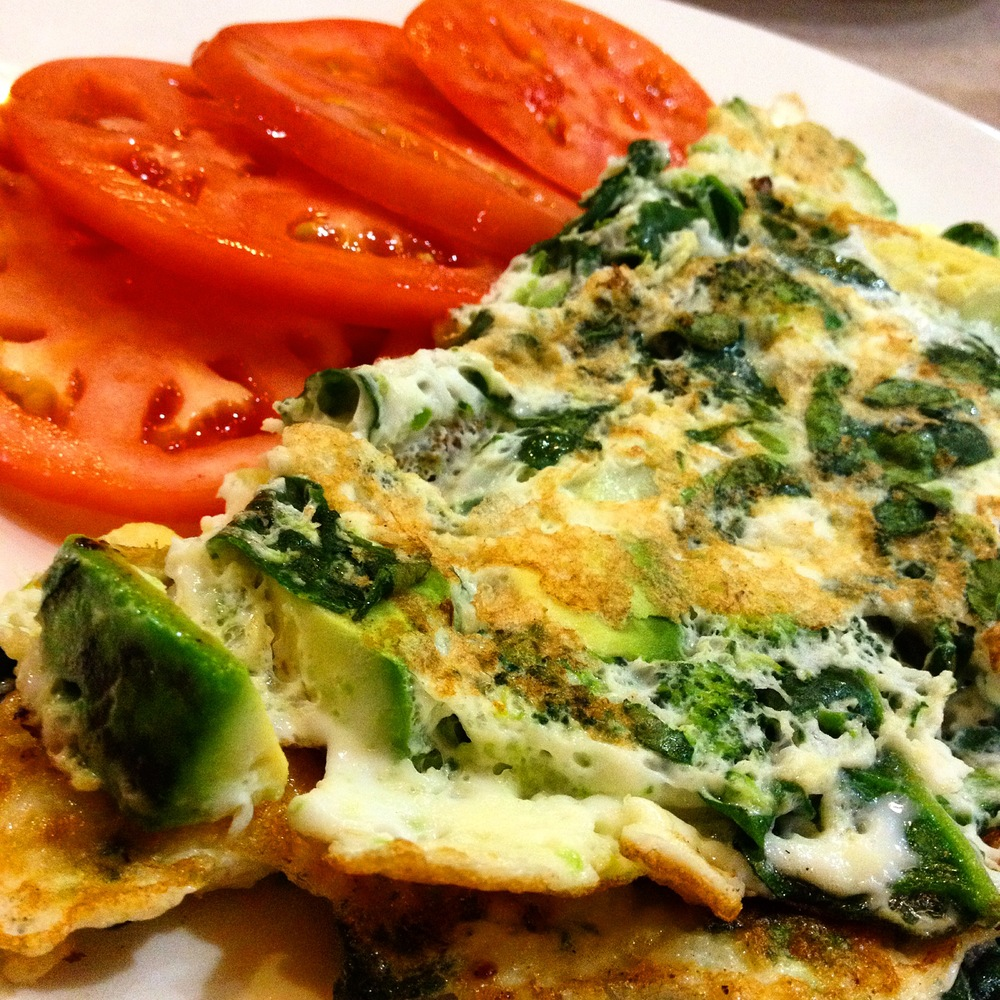 My go-to omelette combo: egg whites with spinach, broccoli, avocado and sliced tomatoes.