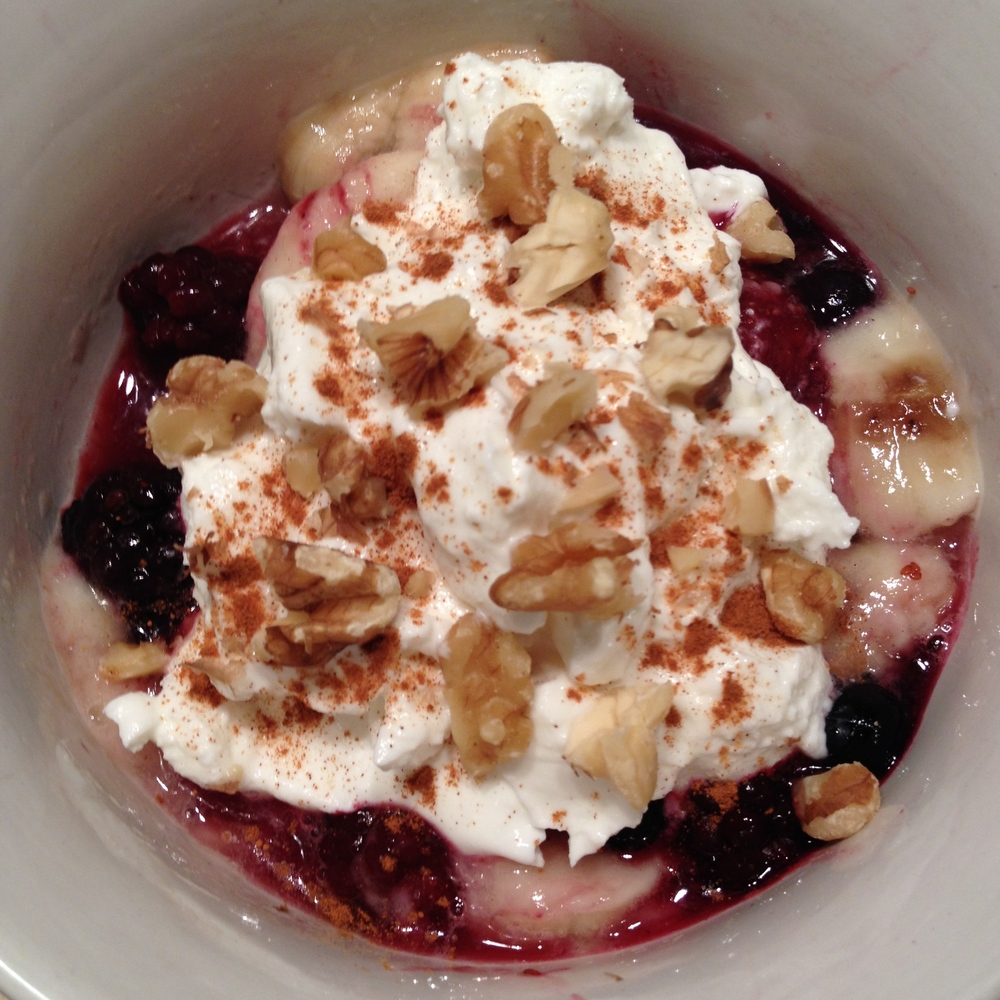 Sundae imposter: Nuked frozen berries and bananas on bottom, topped with non-fat greek yogurt, crushed walnuts, cinnamon sprinkle.