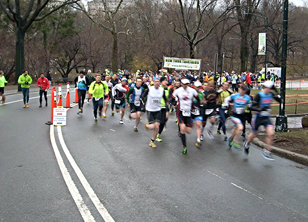 The start of the March Madness Duathlon in Central Park, 2014