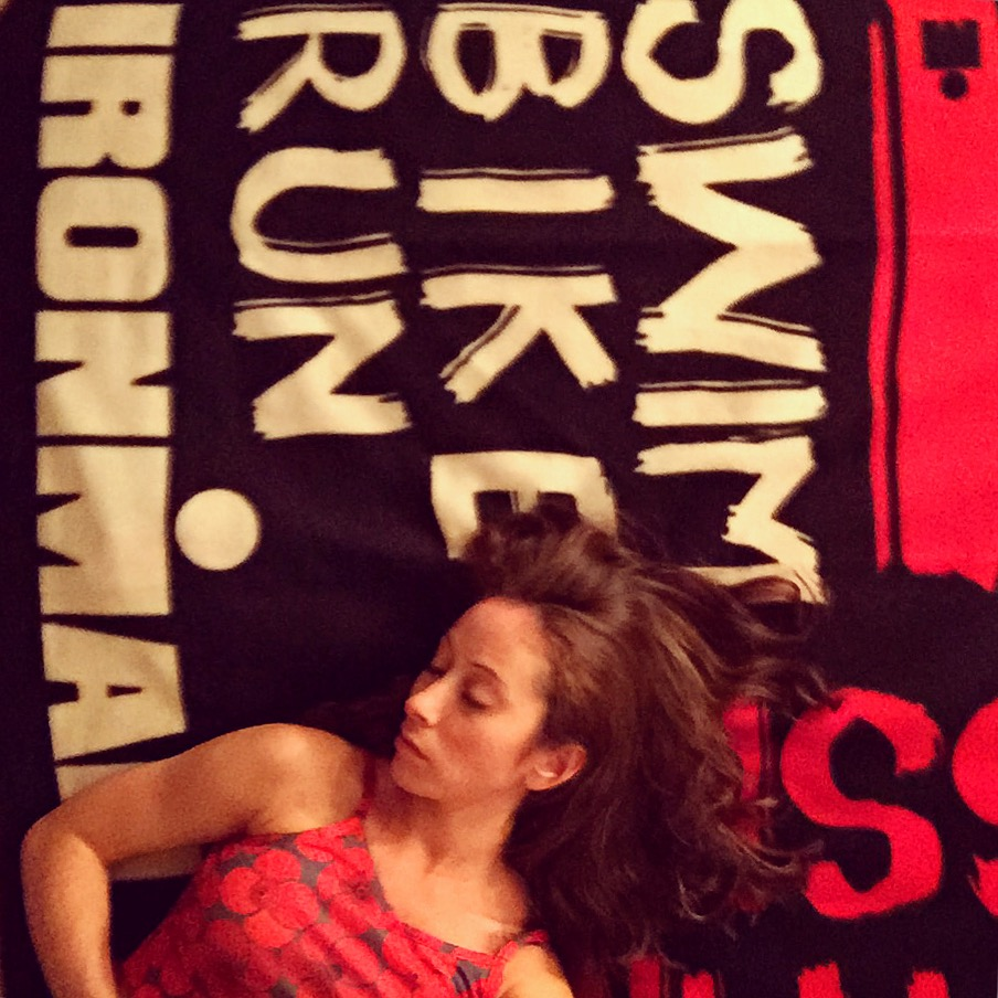 Napping on my Ironman fleece. Perfectly symbolic.