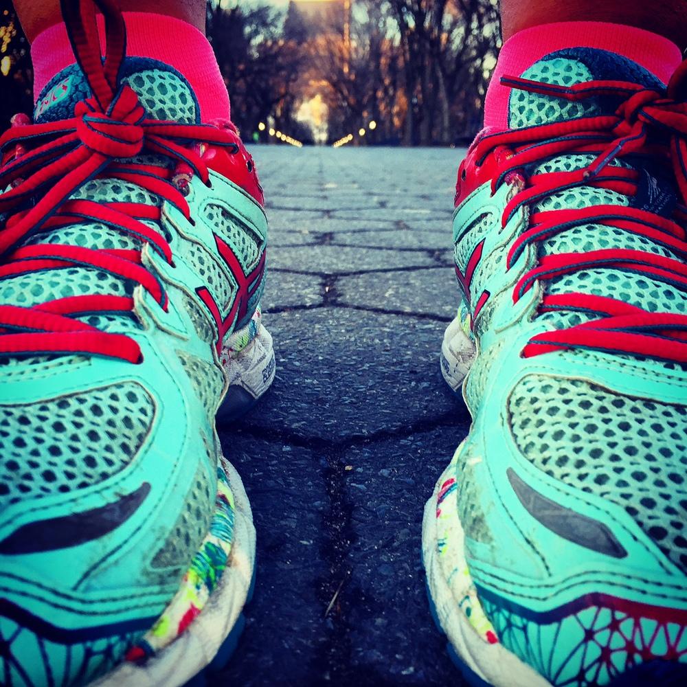 Shoe selfie post sprints down the Central Park Mall.
