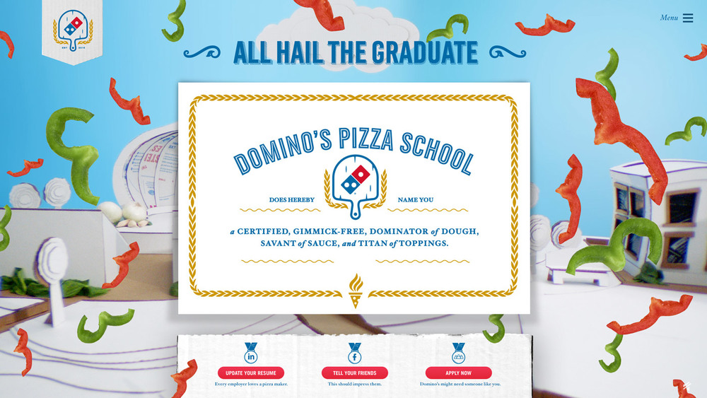 Once people completed their coursework, they were able to add their new skill to LinkedIn or apply for a job at Domino's.