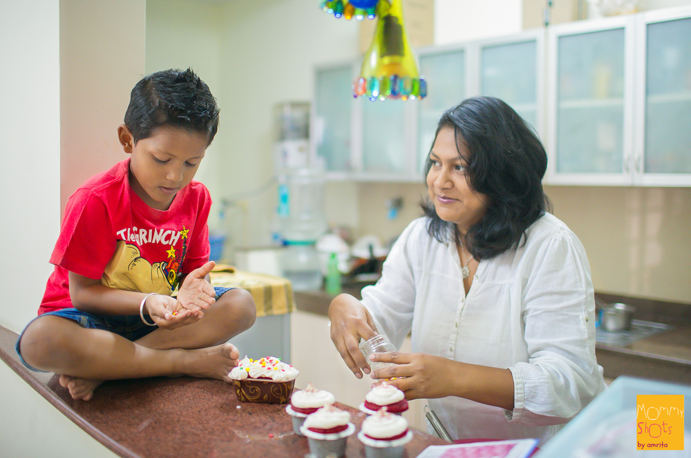 What started as an inspiration to bake her son's birthday cake after a heave dose of food episodes during her pregnancy,  is now a fully grown home-baking business 'The little Devil's Cake Shop',  thanks to the loads of confidence boosting from her partner Subhasish and Rimo her 4-year old son! When Sharmistha is not working on cake orders,  you can find her baking with and for her little Devil Rimo!