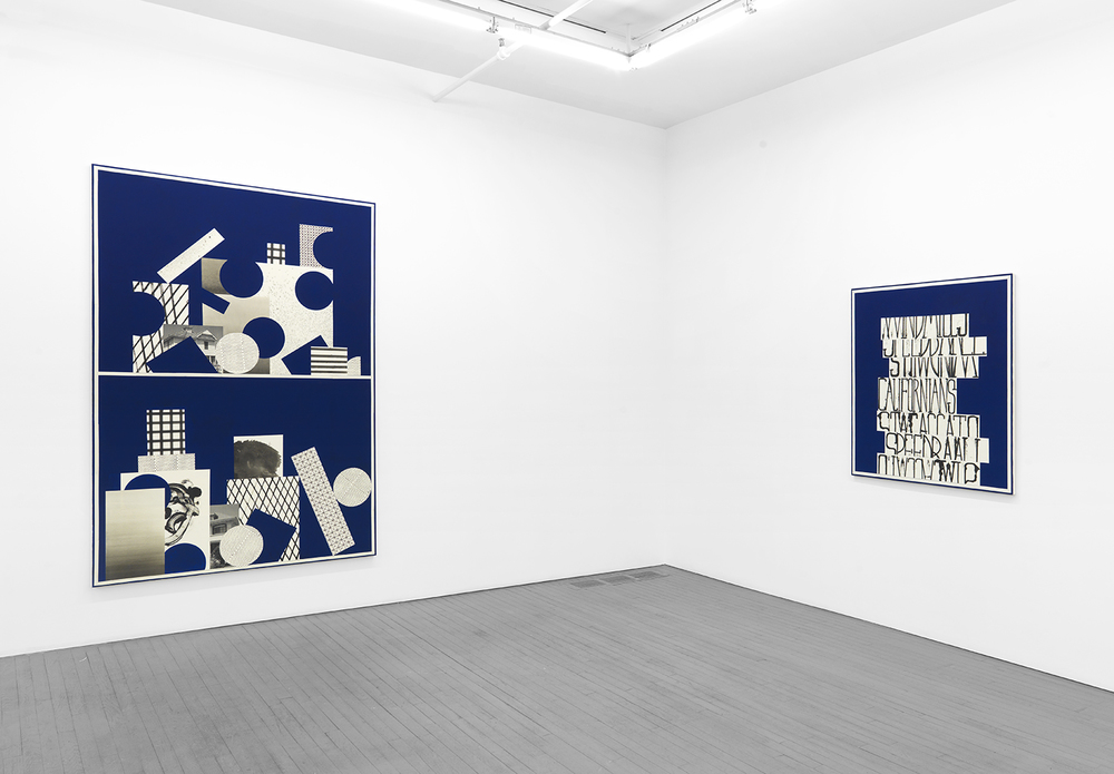 Installation view, Blue Shelf Paintings, Wallspace