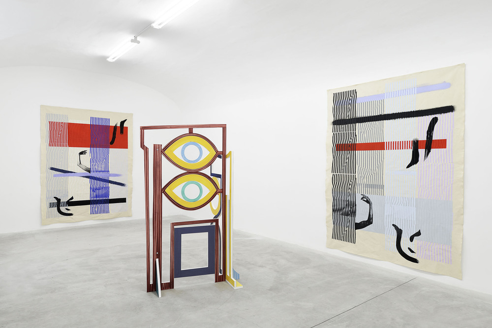 Installation view, Jacopo Miliani, Fay Nicolson, Jackson Sprague, Frutta.