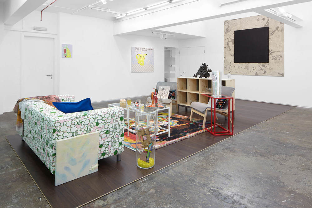 Installation view,   hubcaP sMiley guest starring F ·R ·I ·E ·N ·D ·S ✓Friends , Evelyn Yard
