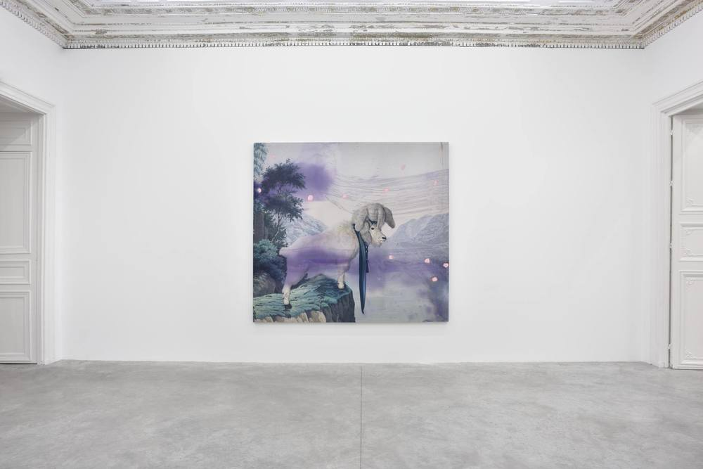 Installation view,    JACK CLIMBED UP THE BEANSTALK TO THE SKY OF ILLIMITABLENESS WHERE   EVERYTHING WENT BACKWARDS,   Almine Rech Gallery