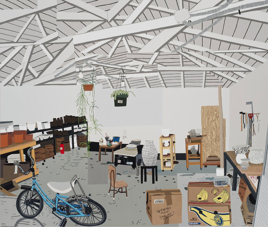 Jonas Wood, Shio's Studio in Palms, 2015