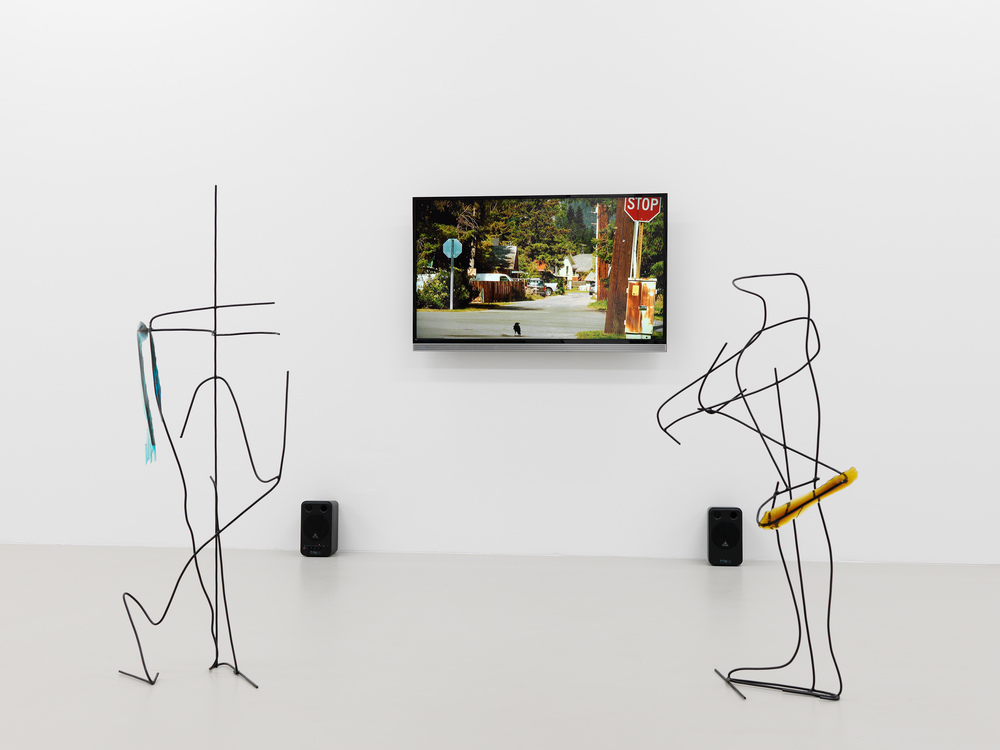 Neïl Beloufa,  Data for Desire,  2014 and  Rationalized Legs , 2015