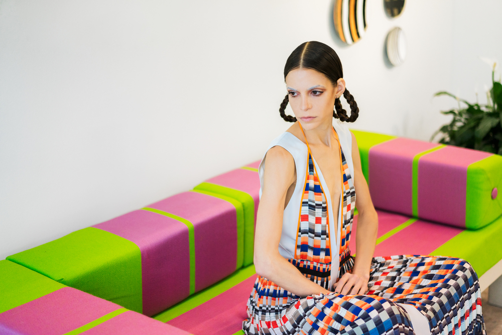 Pari Ehsan at Ettore Sottsass - Friedman Benda, wearing Misha Nonoo, Photo by Robert/Michael.
