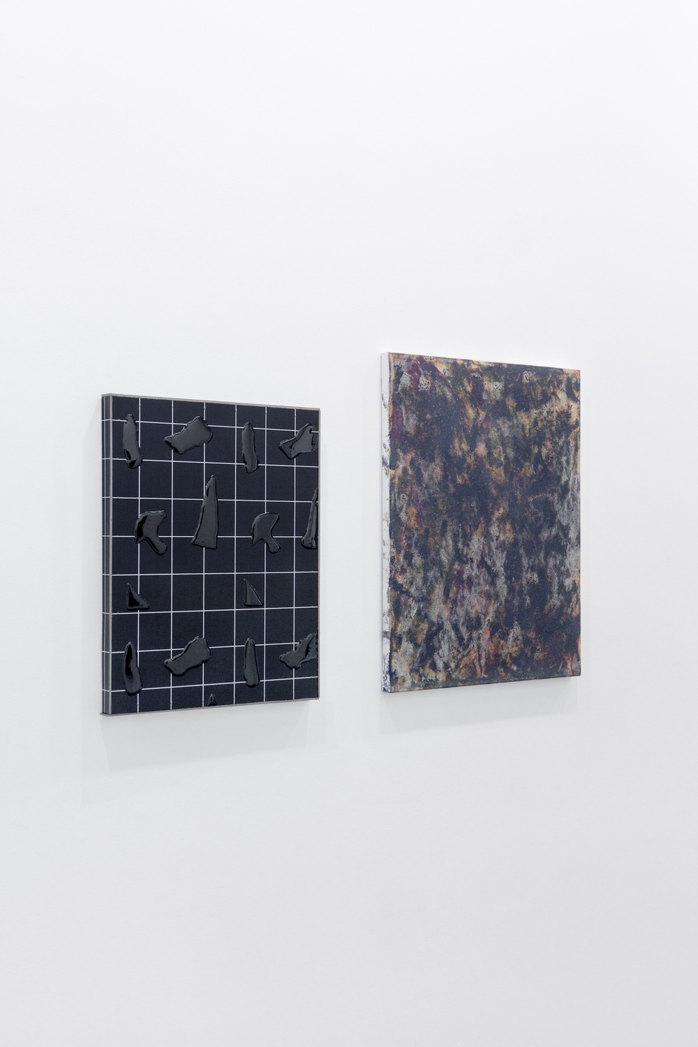 Olivier Kosta-Théfaine, Paysage/Fragments #4 (Black), 2015 and Nicholas Pilato, Untitled, 2015.