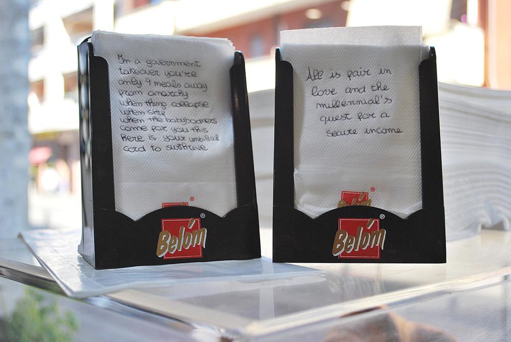 Ella Plevin, Handwriting on napkins, 2016